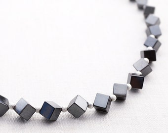 Hematite Cube Necklace. Silver Stardust Beads. Geometric Necklace, Modern Industrial Necklace. Steel Gray Metallic Necklace. Heavy Stones