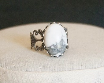 White Howlite Ring White Stone Ring Antiqued Silver Filigree Ring White Ring Blue Gemstone Ring Blue Oval Ring Blue Howlite Ring