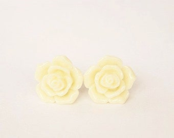 Handmade Ivory Rose Earrings Ivory Resin Flower Post Earrings Ivory Flower Earrings Ivory Post Earrings Ivory Earrings