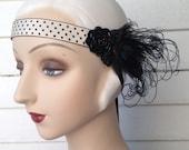 flapper headband in black and white polka dots 20's headband edwardian headband gothic headpiece - dorothea - ready to ship