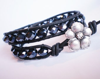 Black Faceted Bracelet Sparkly Wrap Cuff Leather Jewelry