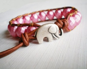 Pink Bracelet Leather Cuff Elephant Jewelry Leather Wrap Bracelet