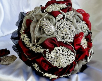 Red,black ,gray brooch wedding bouquet  brooch bridal bouquet, bridal wedding brooch bouquet