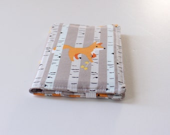 Fox Wallet, Women's Bifold Fabric Wallet in Gray, White, and Orange Foxes, Card Wallet - PREORDER