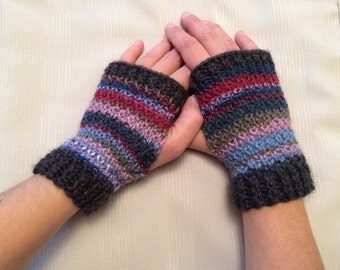 Fingerless gloves- knit gray with purples, blues