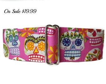 Sugar Skulls Martingale Collar, Day of the Dead, Pink Martingale Collar, Calaveras, Skull, Greyhound Collar, Pink Dog Collar