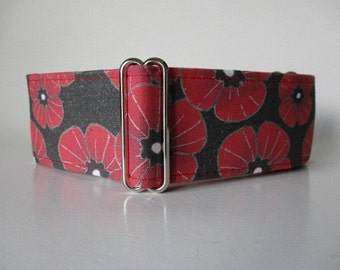 2 Inch Martingale Collar, Poppies Martingale Collar, Remembrance Day Martingale Collar, Remembrance Day Dog Collar, Poppies Dog Collar