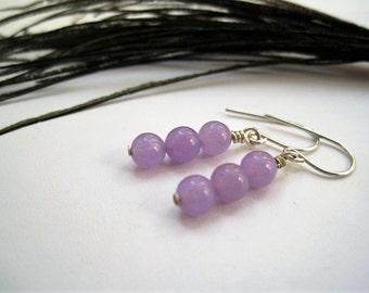 Lavender Jade & Sterling Silver Drop Earrings