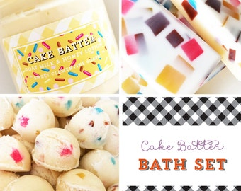 Cake Batter Bath Gift Set - Soap - Body Lotion - Sugar Scrub