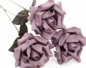 3 lavender purple leather rose bouquet third Anniversary wedding gift Long Stem leather Flower Valentines 3rd Leather Anniversary
