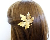 Rustic Hair Accessories Bridal Hair Clip Bridesmaid Barrette Gold Maple Leaf Nature Garden Autumn Fall Woodland Wedding Womens Gift For Her