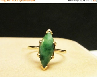 On Sale Vintage Estate Dainty 10K Gold Marquise Cut Green Jade with Green Veins Ring