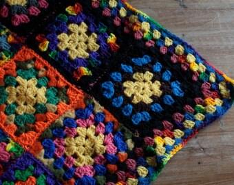 Vintage 1970's Crochet Blanket // 60's 70's Black Floral Knit Patchwork Blanket // Rainbow Patchwork Knit Bedspread // Pride