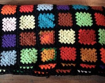 large 1970's Crochet Blanket // 60's 70's Black Floral Knit Patchwork Blanket // Rainbow Granny Square Bedspread