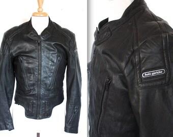 Vintage Hein Gericke Racing Jacket // 1980s Black Leather Motorcycle Jacket // Cafe Racer Biker // DIVINE