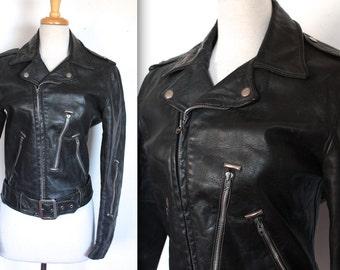 Vintage 1960s Motorcycle Jacket // 60s Black Leather Motorcycle Jacket // Symax Biker Jacket // DIVINE