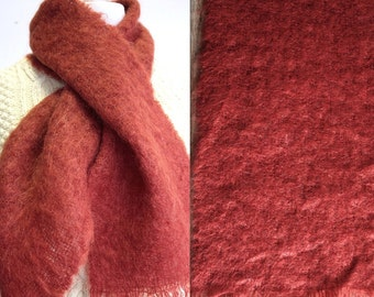 1960's Mohair Scarf // 50s 60s Wool Scarves // Rusty Red Shawl // Winter // Scotland // Holt Renfrew