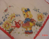 Vintage 1950's Child's Handkerchief Little Girl Watering Sunflowers   16 - 127