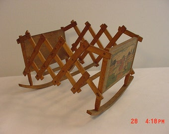 Antique  Circa Late 1880's Primitive Doll Toy Expanding / Folding Wood Cradle  16 - 268