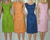 """Handmade 11.5"""" Fashion doll clothes - Your choice - pink, navy or green cotton print dress"""