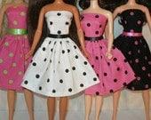Handmade 11.5 fashion doll dress -  polka dot with ribbon trim