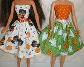 "Handmade 11.5"" fashion doll clothes - Choose 1 - your choice of white with black kittens, orange and green with ghosts"