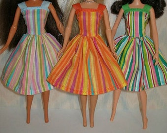 "Handmade 11.5"" Fashion doll clothes - Choose 1 - blue, orange or green stripe dress"