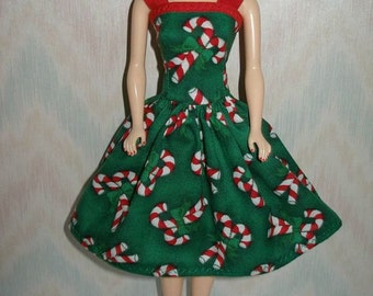 "Handmade 11.5"" Fashion doll clothes - green candy cane Holiday dress"