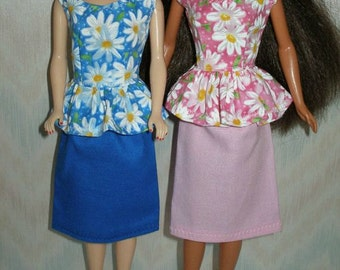 "Handmade 11.5"" Fashion doll clothes -  Your choice - blue or pink and white daisy top with skirt"