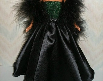 "Handmade 11.5"" fashion doll clothes - green and black satin gown with black boa"
