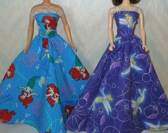 "Handmade 11.5"" fashion doll clothes - Your Choice -- Blue Princess  or Purple Princess Gown with  boa"