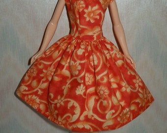 "Handmade 11.5"" fashion doll clothes - orange print dress"