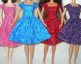 "Handmade 11.5"" fashion doll clothes - Choose 1 - pink, blue, red or purple vintage style dress"