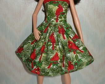 "Handmade 11.5"" fashion doll clothes - Red bird Holiday dress"
