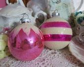Vintage Shiny Brite Ornament Lot-Retro-Eames-PINK