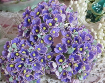 Vintage Millinery Flowers-Forget Me Nots-ATC-Scrapbooking-Embellishment-1 Bunch-French Purple