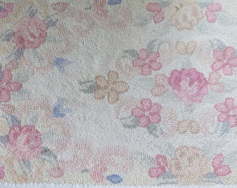 Antique Wool Hooked Rug-Chic Cottage Roses