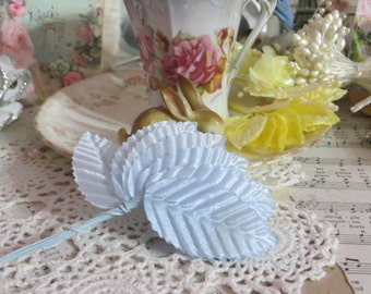 Millinery Leaves-Baby Blue-Satin