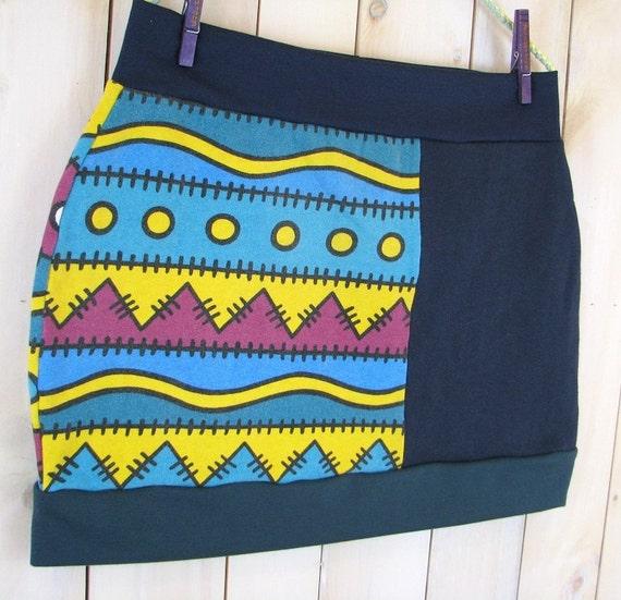 COLORFUL SKIRT - Sweater Skirt - Boho Skirt - Womens Skirt - Short Skirt - Mini Skirt - Blue Mini Skirt - Upcycled Clothing - Cotton Skirt