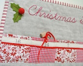 Christmas quilted advent calendar - Woodland friends & red gingham ~ with linen. 24 pockets. Ready To Ship. FREE WORLDWIDE SHIPPING!