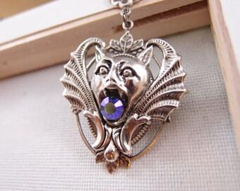 Aged silver bras gargoyle in 3D effect necklace, Swarovski AB effect amethyst crystal ,Victorian,Goth N046