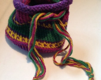 Handmade knitted Boho Hippie Pouch pocketbook purse pouch Knit Bag Knitted Pouch