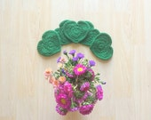 Emerald Green heart shaped cute drink coasters - set of 5 crocheted with 100% Peruvian highland wool