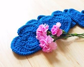 Royal blue heart shaped cute coasters - set of 5 crocheted with 100% wool Valentine coasters