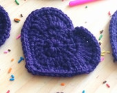Heart shaped dark purple cute drink coasters - set of 5 crocheted with 100% wool - gifts under 25