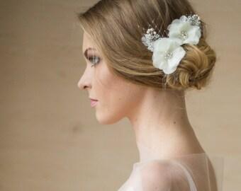 Bridal hair accessories, Flower Bridal headpiece, Bridal Flower hair pin, Ivory, Wedding hair flower accessories, Bridal hair piece, hairpin