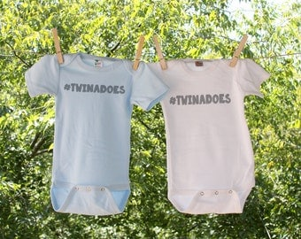 Twins Hashtag Twinadoes // set of two Infant Bodysuit for twins