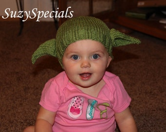 Knitted Green Yoda Like Hat for babies to adult READY TO SHIP