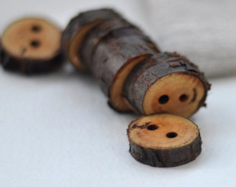 handmade cherry wood buttons •  tree branch buttons • set of 9 cherry wooden buttons  • wood button