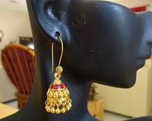 Jaipur Jhumkas -J474-PETITE Gold Polish Jhumkas